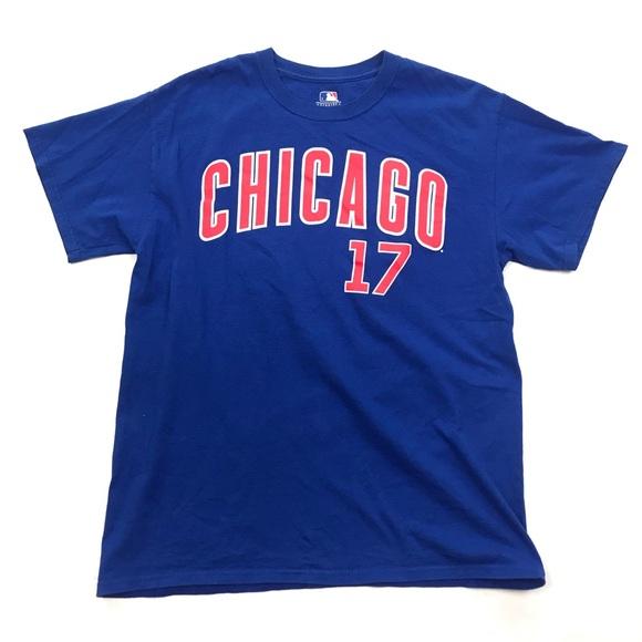 85fa1dfaa Genuine Merchandise Shirts | Mlb Chicago Cubs Blue 17 Kris Bryant ...